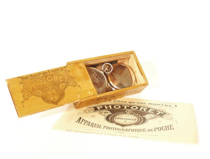 1894 Photoret Pocket Watch Camera In Original Slide-Top Wood Box