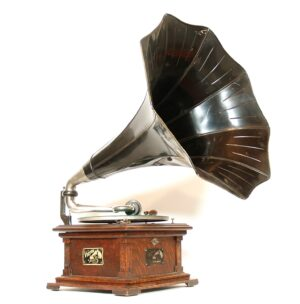 """1908 Victor II """"Humpback"""" Phonograph With Flower Horn & Wurlitzer Dealer Tag"""