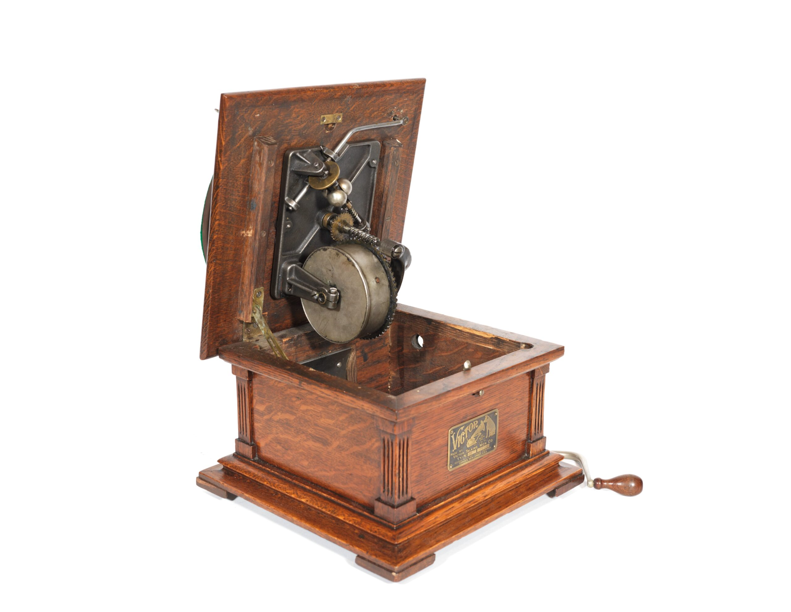 """1907 Victor II Phonograph With Fancy """"Humpback"""" Case"""