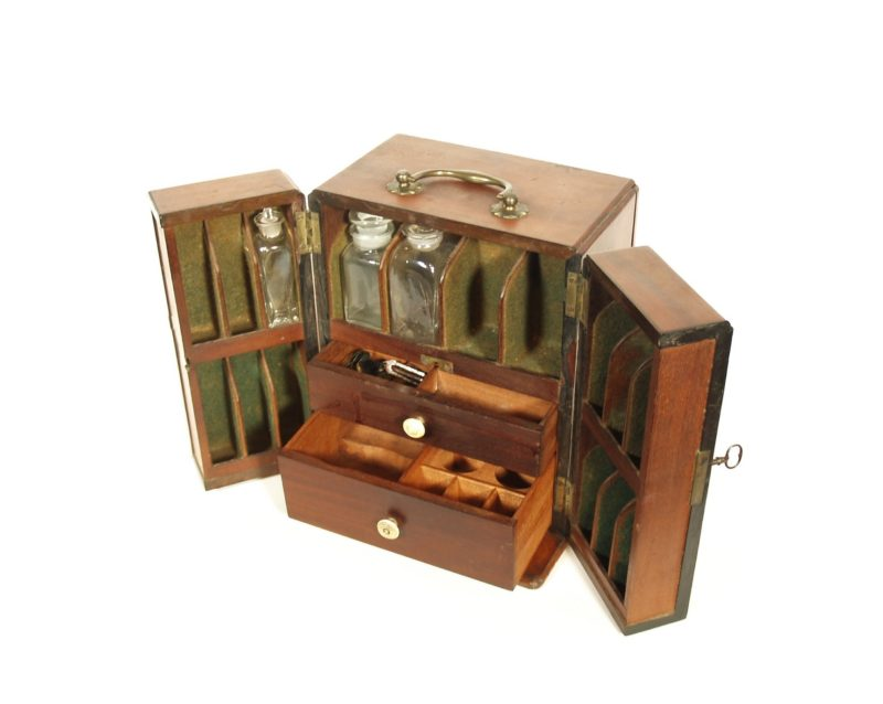 C. 1820 Traveling Medicine Cabinet With Apothecary Balance & Hidden Compartment For Poisons