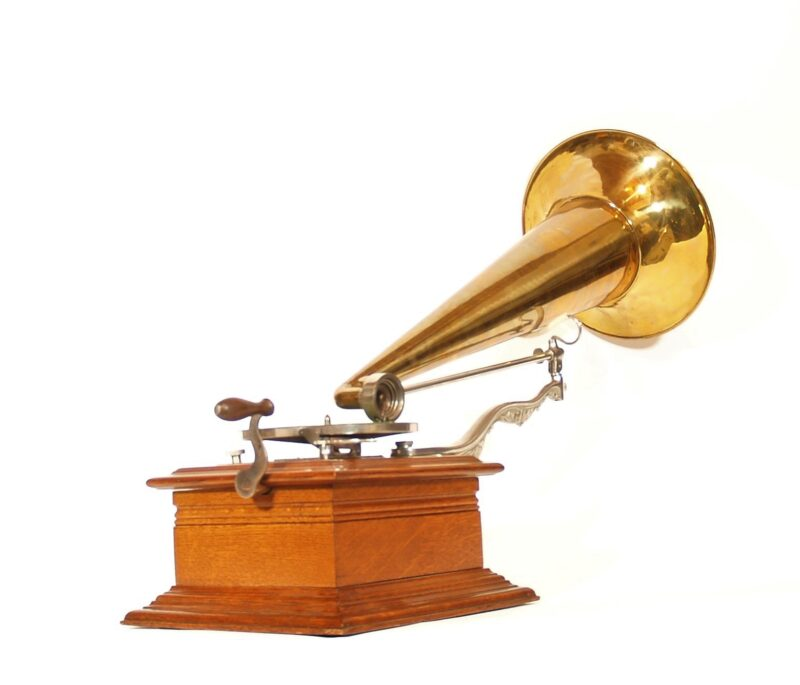 """1902 Zon-O-Phone Parlor Phonograph With 24"""" Brass Horn & Fancy Arms * No Replica Parts"""