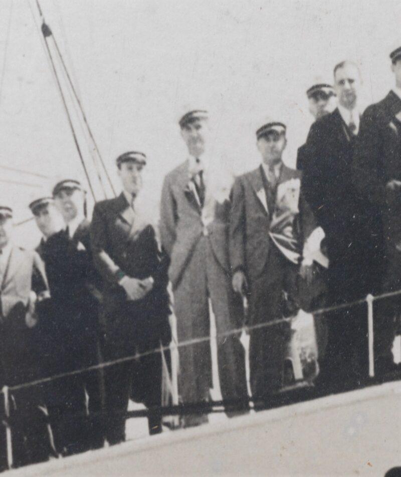 1931 Presentation Photo-Lithograph Of Zenith Founder E.F. McDonald & Zenith Distributors Aboard McDonald's Yacht, MIZPAH