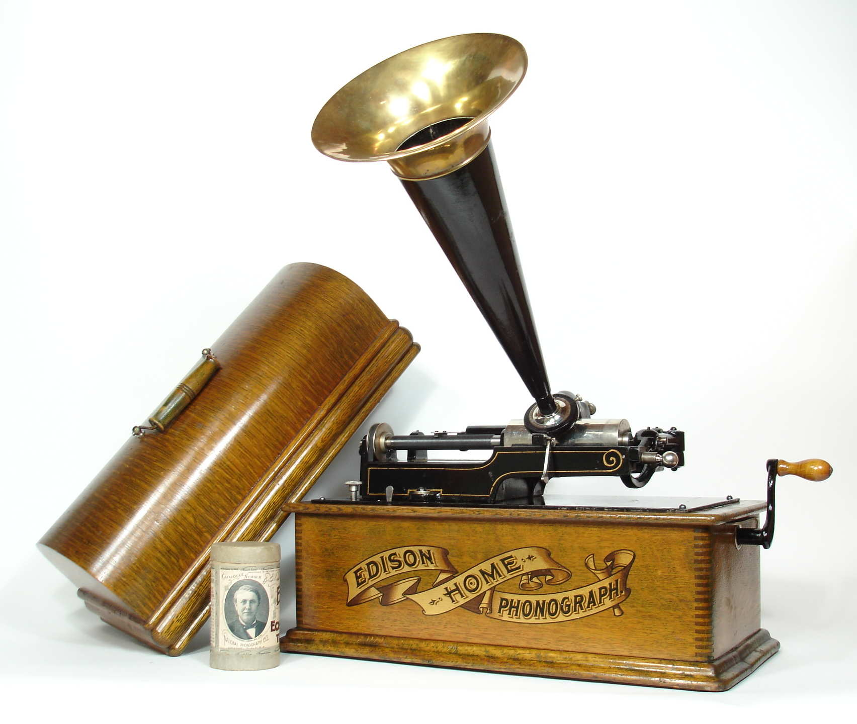 Edison Long Case Home Phonograph With Gold Banner
