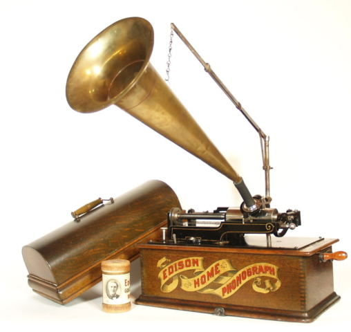 Edison Long Case Home Phonograph With Early Red Banner