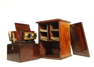 Smith, Beck & Beck Stereo Viewer With Stand & Card Cabinet