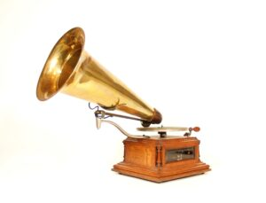 "1900 Zon-O-Phone ""A"" Glass-Sided Phonograph * Flat Bed * Small Crank * Leather Elbow * Close Faced Concert Reproducer"
